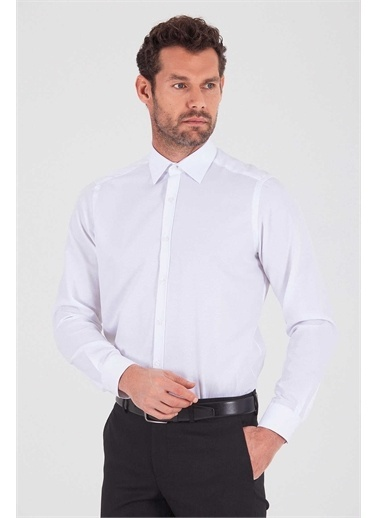 Hatemoğlu Desenli Regular Gömlek Beyaz